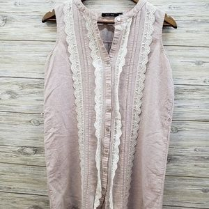 Doe & Rae Nude Tunic With Cream Lace